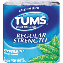 Tums Regular Strength Peppermint Antacid