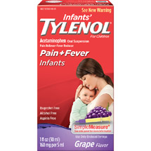 Infants' Tylenol for Children Grape Flavor Acetaminophen Pain Reliever/Fever Reducer Liquid