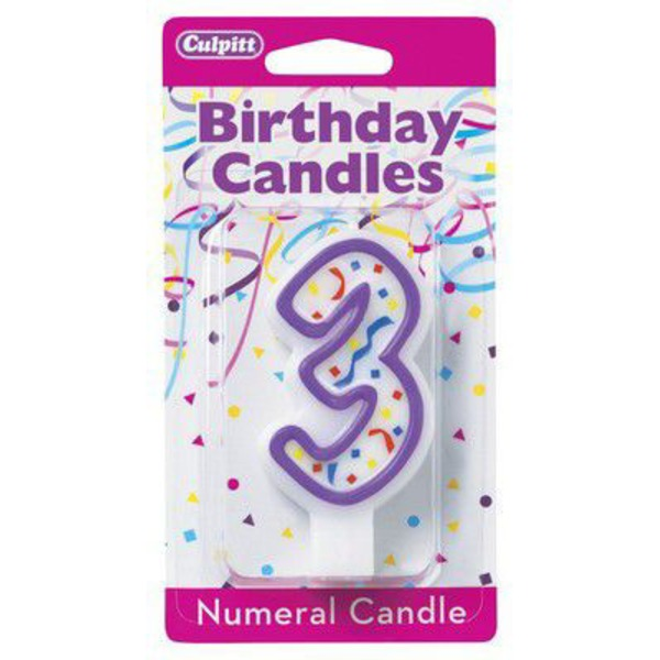 Culpritt Birthday Candles Number 3 Purple