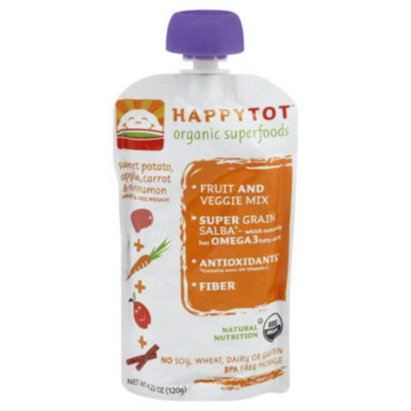 Happy Tot Organic Superfood Apples, Sweet Potato, Carrots & Cinnamon Stage 4 Baby Food