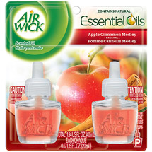 Air Wick Scented Oil Air Freshener with Essential Oils Twin Pack Apple Cinnamon Medley