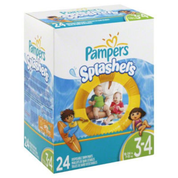 Pampers Splashwear Pampers Splashers Swim Diapers Size 3-4 24 count  Diapers