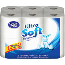 Great Value Double Rolls Ultra Soft 2-Ply Bathroom Tissue (Pack of 12)