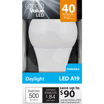 Great Value LED 7W Omni-Directional A19 Dimmable Light Bulb