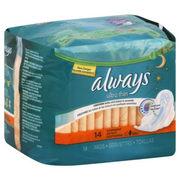 Always Thin Ultra Always Ultra Thin Size 4 Overnight Pads With Wings, Unscented, 14 count Feminine Care