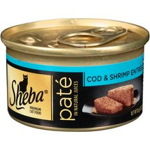 Sheba Premium Pate in Natural Juices Cod and Shrimp Entree Premium Canned Cat Food