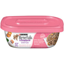 Purina Beneful Chopped Blends Wet Dog Food with Salmon Sweet Potatoes Brown Rice and Spinach 10-oz Plastic Tub