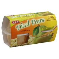 H-E-B Diced Pears Cups In Light Syrup