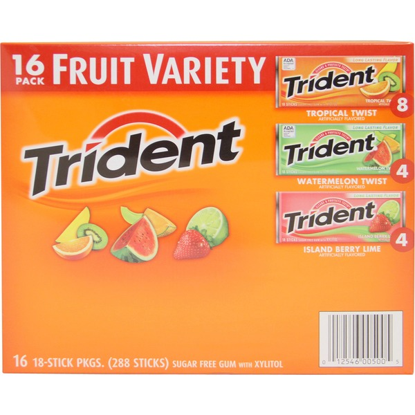 Trident Fruit Variety Pack Sugar Free Gum with Xylitol