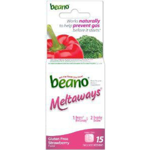 Beano Meltaways Food Enzyme Dietary Supplements Strawberry - 15 CT