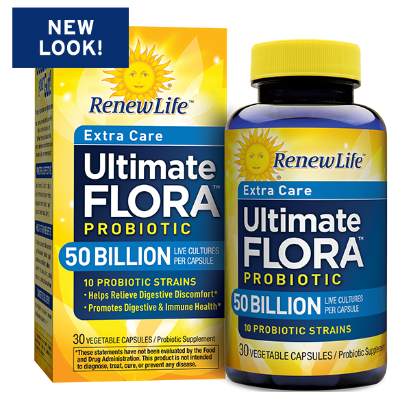 Renew Life Extra Care Ultimate Flora Probiotic Supplement Vegetable Capsules - 30 CT