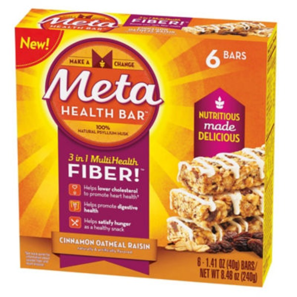 Meta Health Bar Cinnamon Oatmeal Raisin 6 Count Laxative