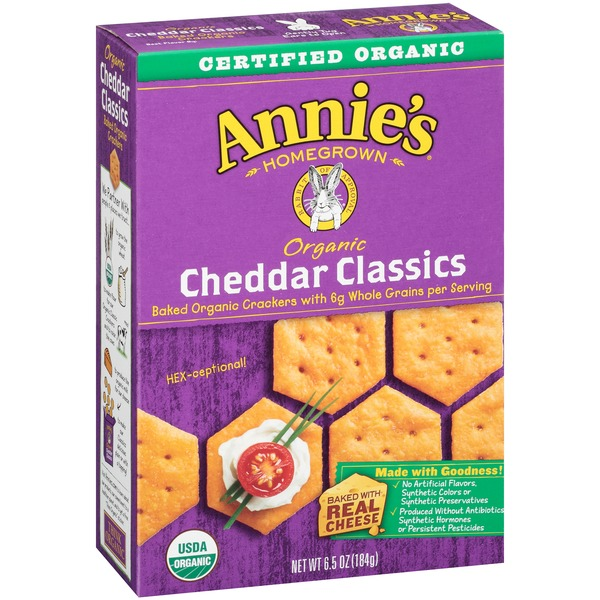 Annie's Homegrown Organic Cheddar Baked Cracker Classic Crackers