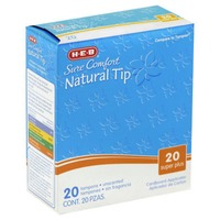 H-E-B Sure Comfort Natural Tip Cardboard Super Plus Unscented Tampons