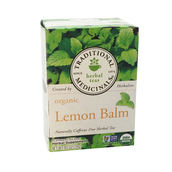 Traditional Medicinals Organic Lemon Balm, Caffeine Free Herbal Tea