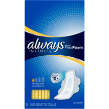 Always Infinity Regular Flow with Wings Unscented Pads 36 ct