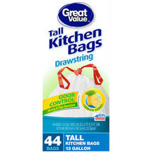 Great Value Lemon Scent Odor Control Drawstring Tall Kitchen Bags