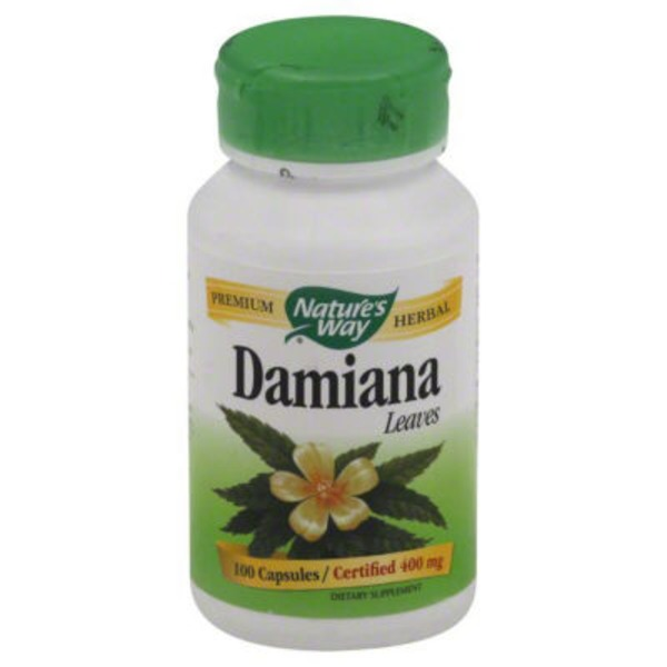 Nature's Way Damiana Leaves, Certified 400 mg Capsules