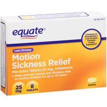 Equate Less Drowsy Motion Sickness Relief Tablets