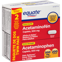Equate Extra Strength Acetaminophen Pain Reliever/Fever Reducer Caplets (Pack of 2)