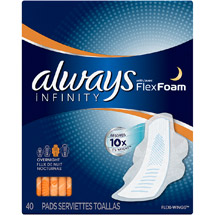 Always Infinity Overnight Pads with Flexi-Wings (Choose your Count)