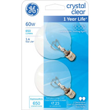 GE crystal clear 60 watt G16.5