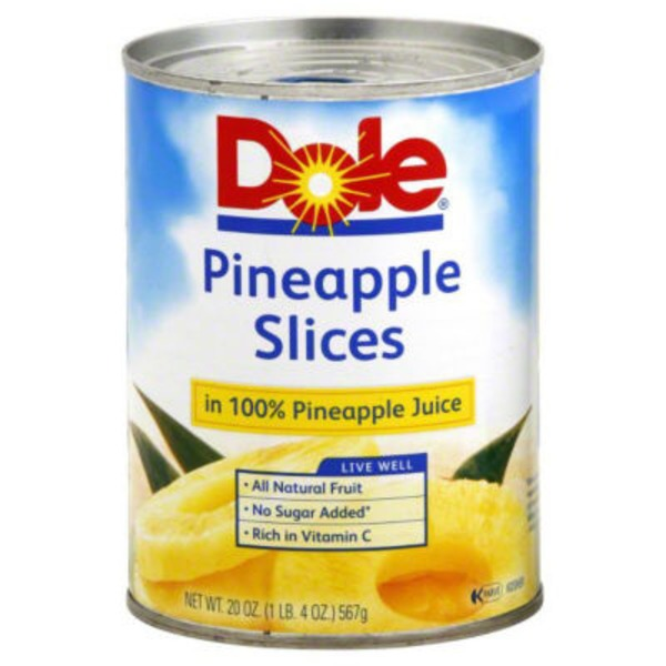 Dole Canned Fruit Slices In 100% Pineapple Juice Pineapple
