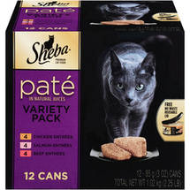 Sheba Pate in Natural Juices Cat Food Variety Pack 12