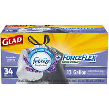 Glad ForceFlex OdorShield Tall Kitchen Drawstring Trash Bags Lavender