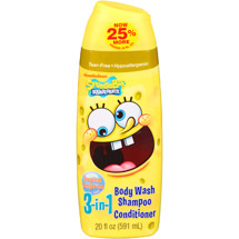 Nickelodeon SpongeBob SquarePants Tropical Tangerine 3 in 1 Body Wash Shampoo & Conditioner