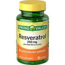 Spring Valley Resvervatrol plus Red Wine Extract Dietary Supplement Softgels
