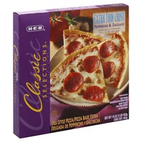 H-E-B Classic Selections Extra Thin Crust Pepperoni & Sausage Pizza