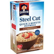 Quaker Steel Cut Brown Sugar & Cinnamon Quick 3-Minute Oatmeal