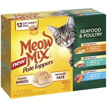 Meow Mix Pate Toppers Seafood & Poultry Wet Cat Food Variety Pack 2.75-Ounce Cups (Pack of 12)