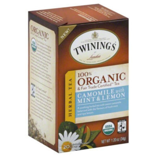 Twinings Organic & Fair Trade Certified Camomile with Mint & Lemon