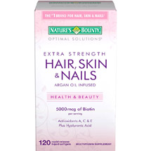 Nature's Bounty Optimal Solutions Extra Strength Hair Skin & Nails Multivitamin Supplement Softgels