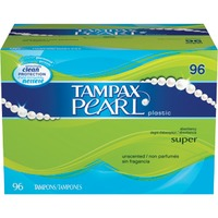 Tampax Pearl Tampax Pearl Plastic Super Absorbency, Unscented Tampons 96 Count  Feminine Care