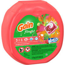 Gain flings! Plus Oxi Boost Plus Febreze Freshness Tropical Sunrise Laundry Detergent