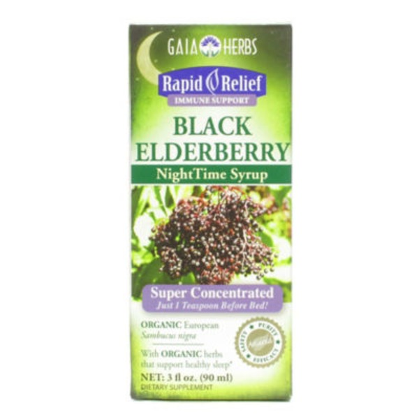 Gaia Herbs Black Elderberry Night Time Syrup