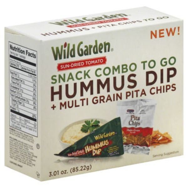 Wild Garden Snack Box To Go! Sun-Dried Tomato Hummus Sea Salt Pita Chips