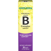 Spring Valley Sublingual Liquid B Complex with B12 Vitamin Supplement
