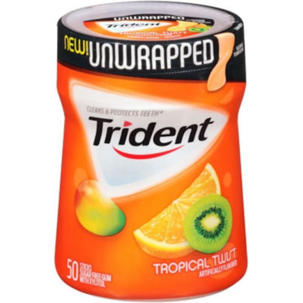 Trident Unwrapped Tropical Twist Sugar Free Gum with Xylitol