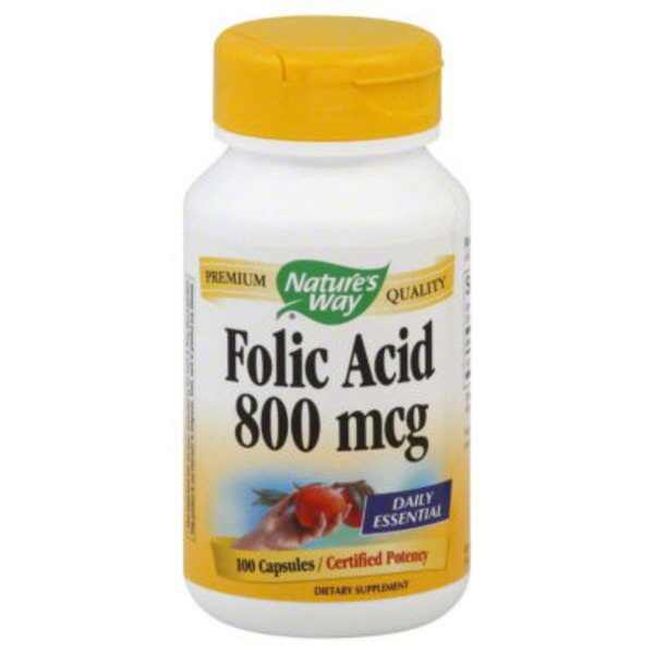 Nature's Way Folic Acid 800 mcg Capsules Certified Potency