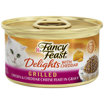 Fancy Feast Wet Cat Food Delights Grilled Chicken and Cheddar Cheese Feast in Gravy