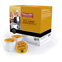 Newman's Own Cafe Almond Biscotti Medium Roast Extra Bold K-Cups Coffee