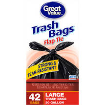 Great Value Flap Tie Closure Large Trash Bags