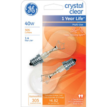 GE crystal clear 40 watt A15