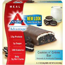 Atkins Advantage Cookies N' Creme Bars Nutritional Supplement Bars