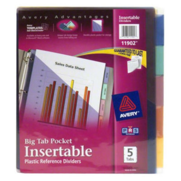 Avery Big Tab Pocket Insertable Plastic Dividers - 5 Tab