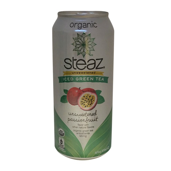Steaz Iced Green Tea, Unsweetened, Passionfruit